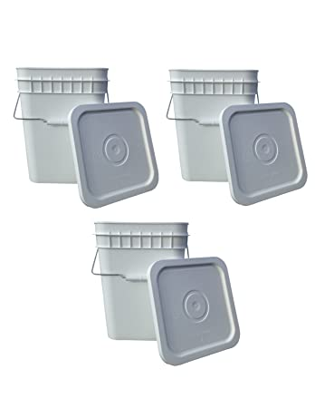4 gallon square bucket food grade with snap on lid set of