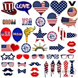 4th of July Photo Booth Props - 40 Pieces Party Decorations Gifts Supplies, American Patriotic Fun Kids DIY Crafts Photoshoot Dress up Backdrop Accessories, for Independence Memorial Veterans Flag Day