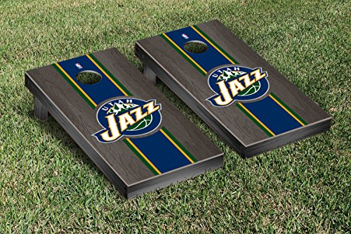 Utah Jazz NBA Basketball Regulation Cornhole Game Set Onyx Stained Stripe Version by Victory Tailgate