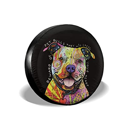 Pike Outdoors JL Series Spare Tire Cover Backup Camera Hole Neon Artistic K9 American Lab Pit Bull Staffy Dog Mix Black 33 in