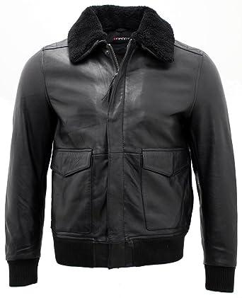 b00fc49c35d Men s A2 Black Sheep Nappa Leather Bomber Jacket with Detachable Sheepskin  Collar XS