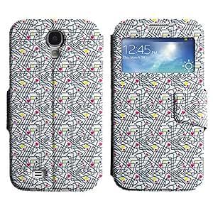 Be-Star Diseño Impreso Colorido Slim Casa Carcasa Funda Case PU Cuero - Stand Function para Samsung Galaxy S4 IV / i9500 / i9505 / i9505G / SGH-i337 ( Weird Lines )