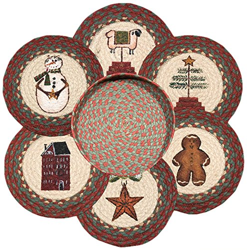 Earth Rugs 56-1120 Winter Round Basket and 6-Trivets, 10