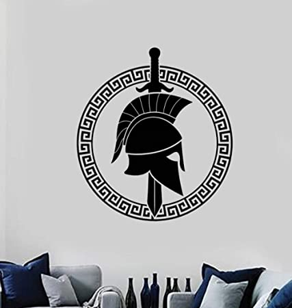 Rfokun Sticker Gladiateur Spartiate Mur Dieux grecs Autocollant Maison Chambre Mur Art d/écoration Amovible 74x74 cm