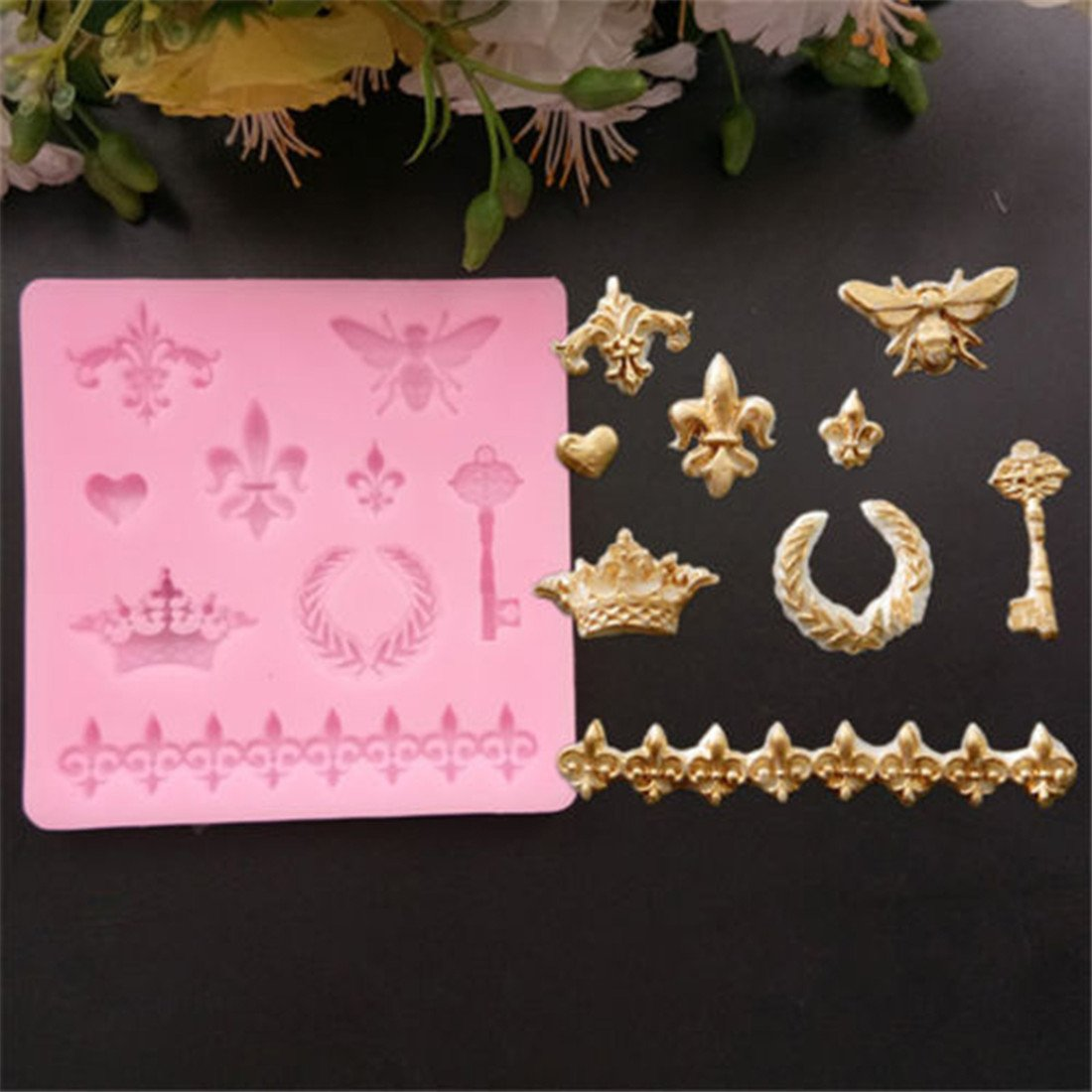 Yesiidor Vintage Pattern Cake Mold Bee Crown Key And Heart Shape DIY Fondant Chocolate Candy Mould Cake Decor Baking Tools
