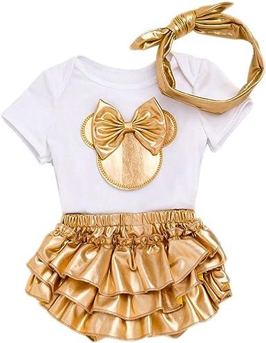 Bebé Niña Recién Nacida Vestido Set 3 Piezas de Algodón Traje de ...