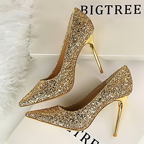 Fine Mouth Silver Autumn Shoes Shoes High Gold Crystal Sequins Shallow Shoes Single Pointed Shoes Wedding Yukun Bridal Heels Gold Women With High heels OEqwUz