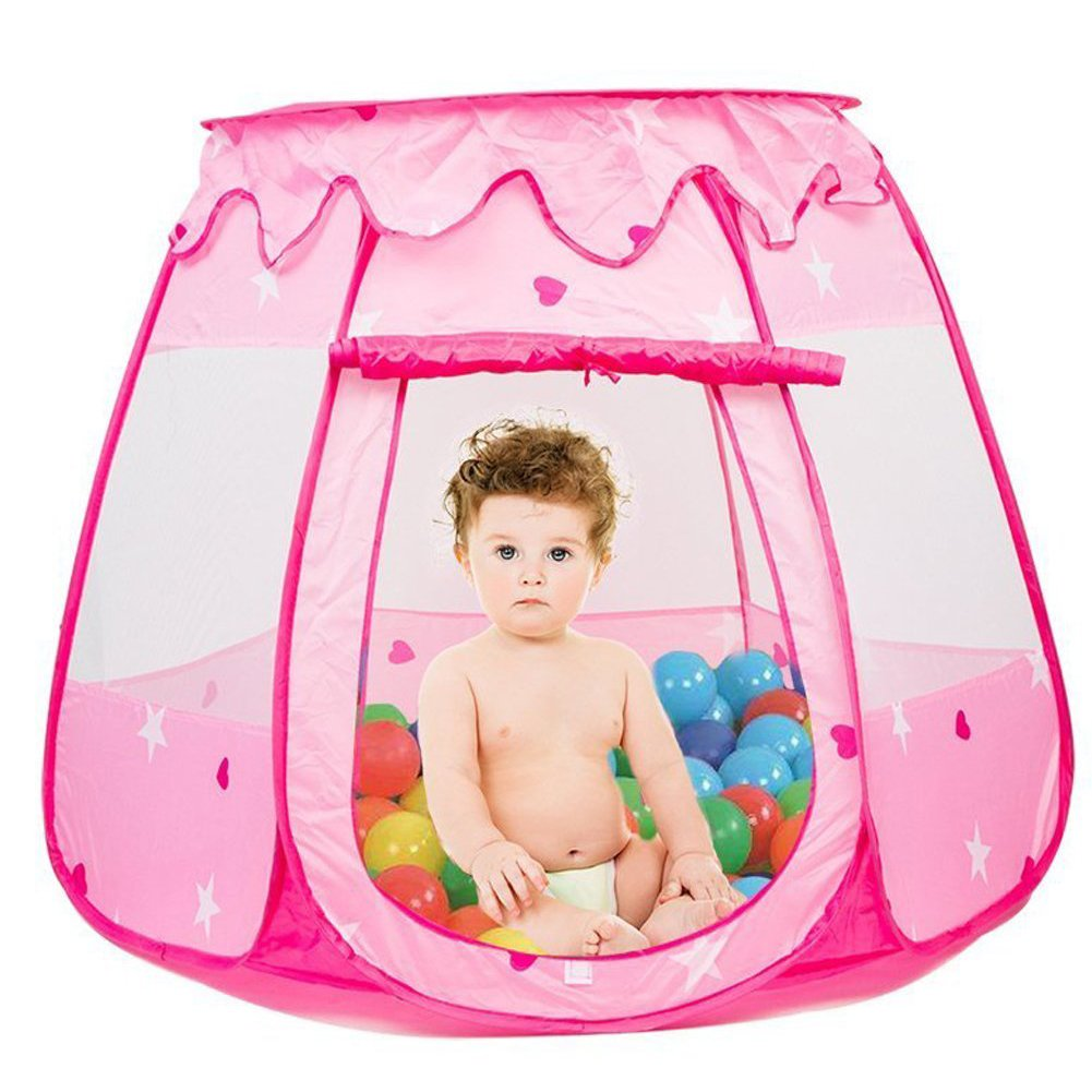 Famoy Folding Princess Ball Pit Tent for Girls Indoor and Outdoor 1 to 8 Years Old Toys, Children Game Pop Up Play Castle Tent Playhouses with Portable Tote Bag for Kids Furniture - Pink