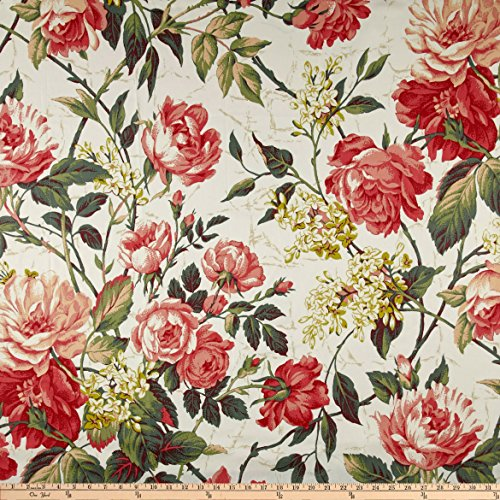 P Kaufmann Belfiori Chintz Coral Fabric by The Yard