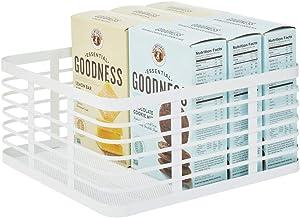 mDesign Modern Decor Metal Wire Food Organizer Storage Bin Baskets for Kitchen Cabinets, Pantry, Bathroom, Laundry Room, Closets, Garage - White