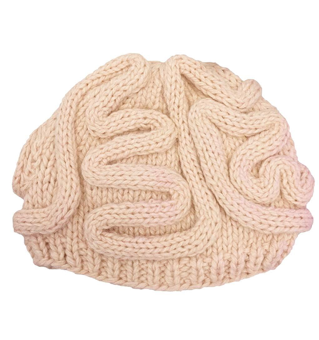 ba4530bbc88 Giles Jones Unisex Handmade Knitted Brain Beanie Cap Christmas Zombie Pinky  Hat Adults at Amazon Women s Clothing store
