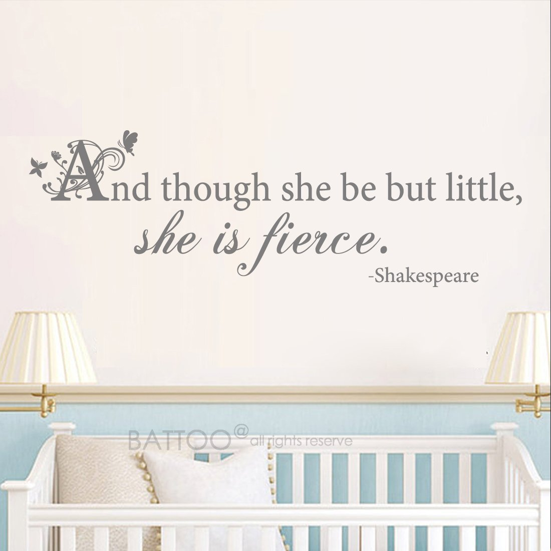 BATTOO and Though she be but Little she is Fierce Wall Sticker Girls Room Sticker Girls Nursery Wall Decal Shakespeare Quote Wall Decal Gold, 42 WX14 H