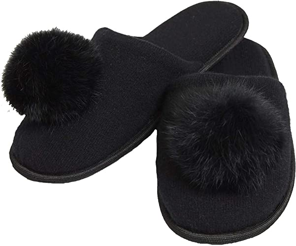100/% Fox Fur Slippers Black