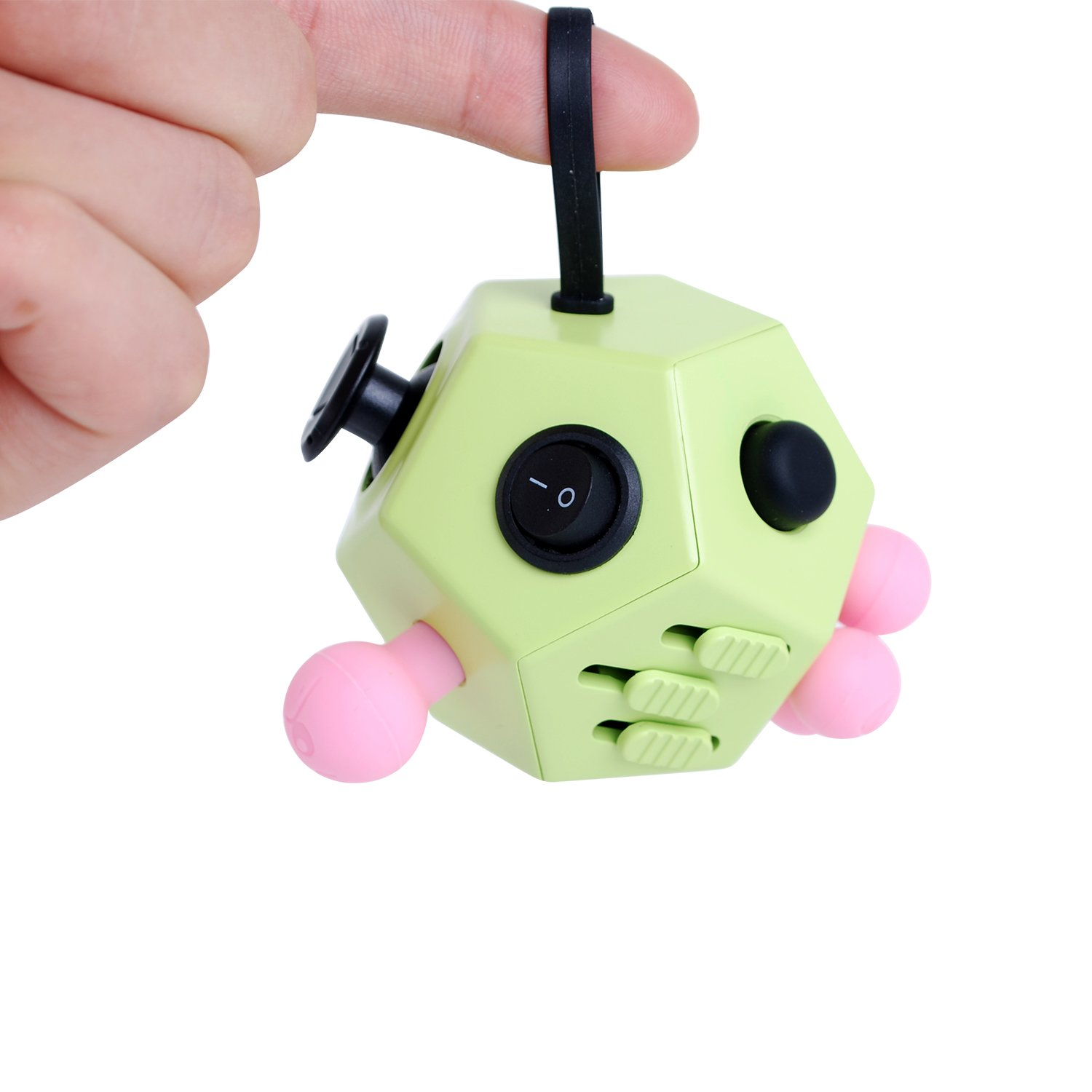 Fidget Cube Toys, Relieves Stress and Increases Focus for Adults and Children with ADHD ADD OCD Autism - 12 Sides Fidget Dice (Green) by BSL (Image #5)