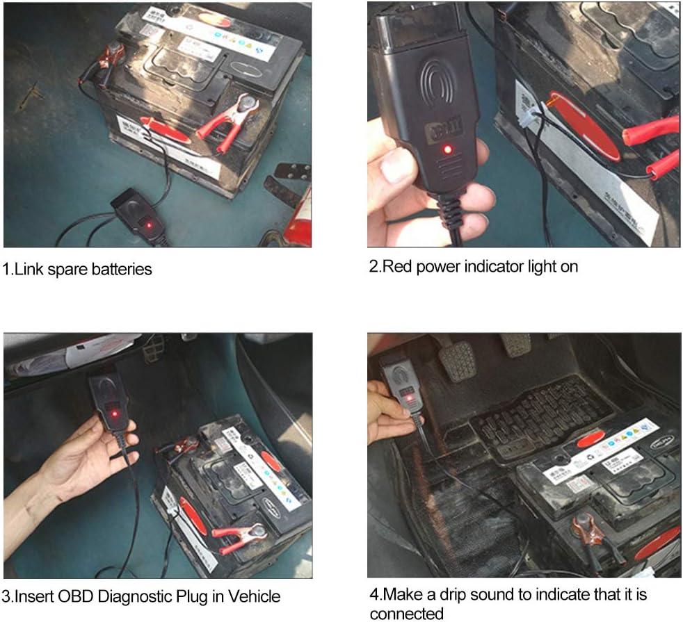 Grebest Car Memory Saver Tool Diagnostic Instrument Repair Tool Auto Car Vehicle OBD Computer ECU Memory Saver Replace Battery Safe Hand Tool Black