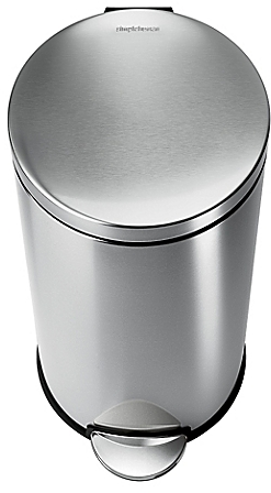 simplehuman® Brushed Stainless Steel 35-Liter Fingerprint-Poof Round Step Can - BedBathandBeyond.com
