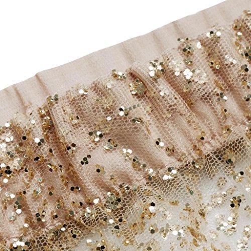 BZLine Polyester Jupe Paillettes Maxi gold Longue Plage Skirt Clair Taille Femme Haute rtqzar