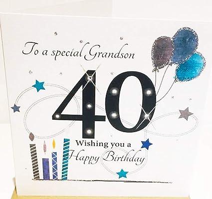 Tarjeta de felicitación de 40 cumpleaños para nieto, tamaño ...