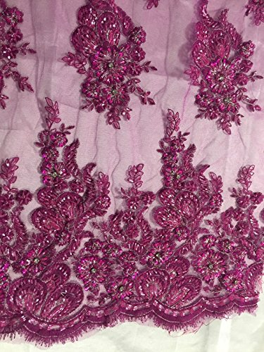 Magenta Flowers Embroider And Heavy beading On A Mesh Lace Fabric-prom-by yard. ()