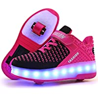 Ufatansy Kids Boys Girls High-Top Shoes LED Light Up Sneakers Single Wheel Double Wheel Roller Skate Shoes Best…