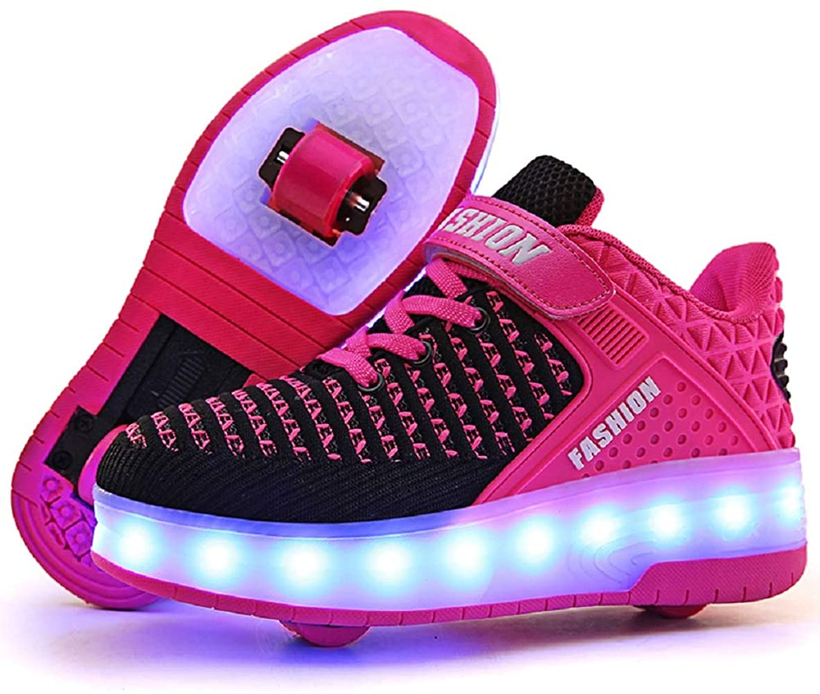 LED Sneakers Lighting sports shoes with wheel Gift for Children Boys Girls Pink