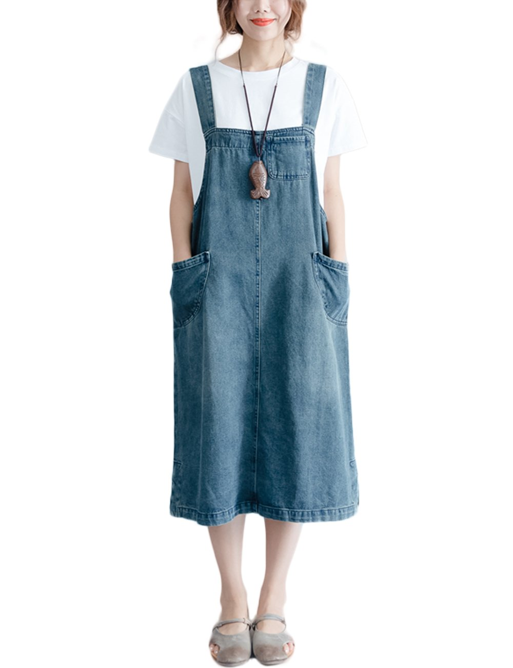 4cb89b7271f1 Innifer Overall Pinafore Dress Skirt/Women's Loose Casual Strap Jeans ...