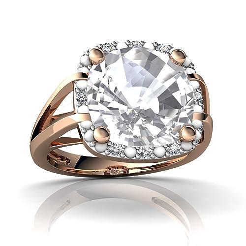 Amazon.com: 14 kt oro blanco topacio y diamantes 10 mm cojín ...