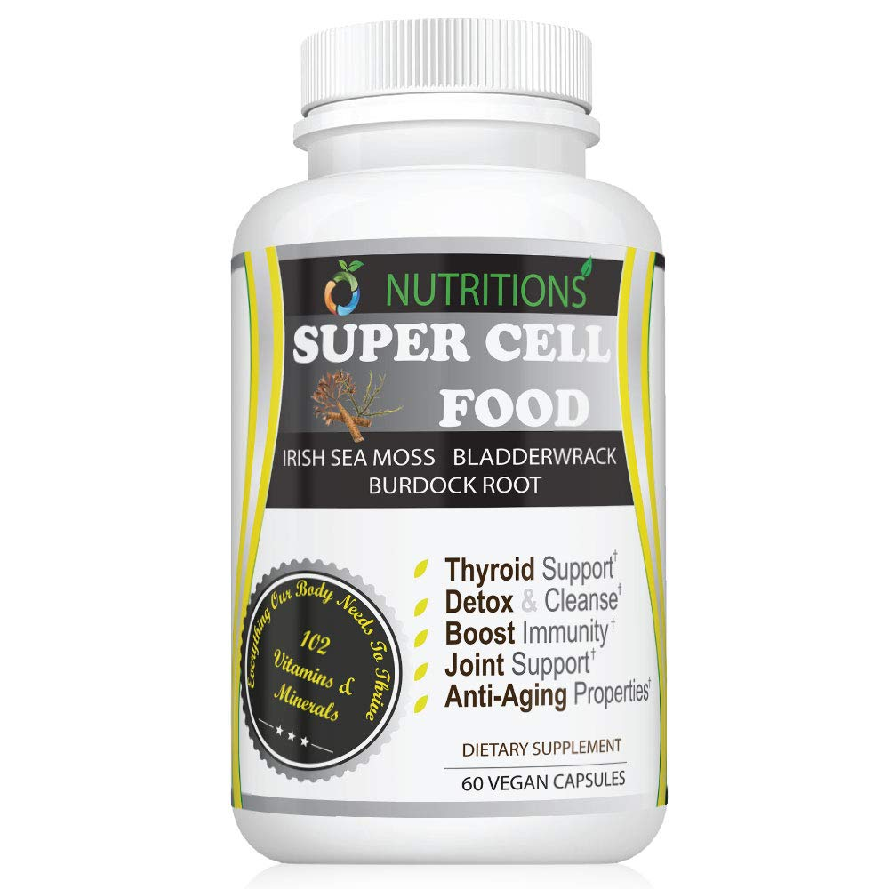 Vegan Super Cell Food with Irish Sea Moss and Bladderwrack with Burdock Root for Thyroid Support, Detox, Joint Support,Immune Support, Anti Aging, Appetite Suppresant, Multivitamin, Fasting, Keto Diet