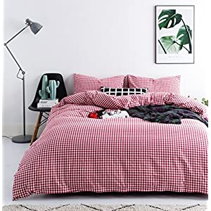 SUSYBAO 3 Pieces Duvet Cover Set 100% Natural Washed Cotton Queen Size 1 Duvet Cover 2 Pillowcases Luxurious Quality Soft Breathable Hypoallergenic Red Gingham Plaid Checkered Pattern with Zipper Ties