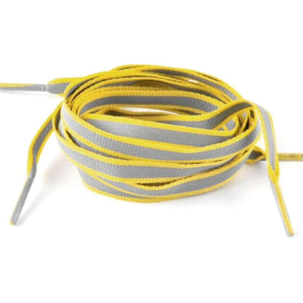 1 Pair 100Cm Flat 3M Reflective Runner Shoe Laces Safety Luminous Glowing Shoelaces Yellow