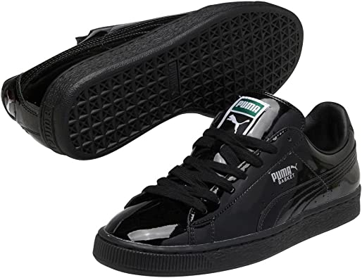 PUMA Mens Basket Matte & Shine Lace Up Sneakers Shoes Casual - Black