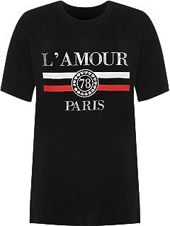 3fbd90dbb7 WearAll Women s Plus Amour Paris Slogan Foil Print Baggy Short Sleeve  T-Shirt Ladies Top