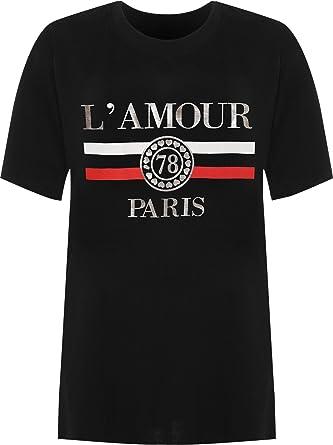 f9616c24 WearAll Women's Plus Amour Paris Slogan Foil Print Baggy Short Sleeve T-Shirt  Ladies Top