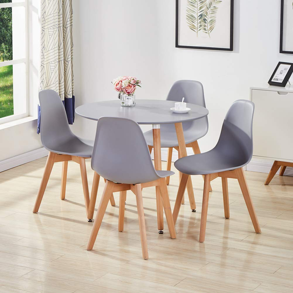 GOLDFAN Dining Room Set Dining Table and Chairs Set 4 Modern Round Kitchen Table Wood Style (All Grey) [Energy Class A++]