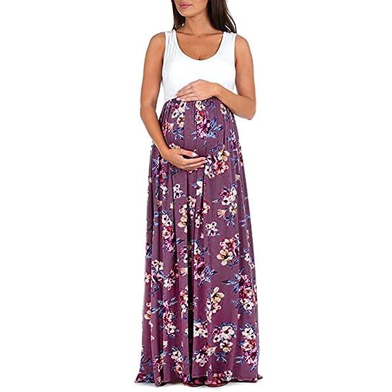 Cinnamou Ropa Premamá Verano, Vestido de Maternidad Sin Mangas de Cuello Redondo con Flores Vestir Elegante Largo Vestidos Premamá Fiesta de Estampada ...