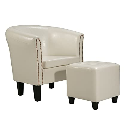 Terrific Harperbright Designs Armchair Upholstered Living Room Club Chair With Pu Leather And Ottoman White Dailytribune Chair Design For Home Dailytribuneorg