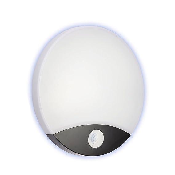 Lámpara LED de techo pared pared con sensor PIR Movimiento 10 W luz 4000 K - acabado blanco/negro: Amazon.es: Iluminación