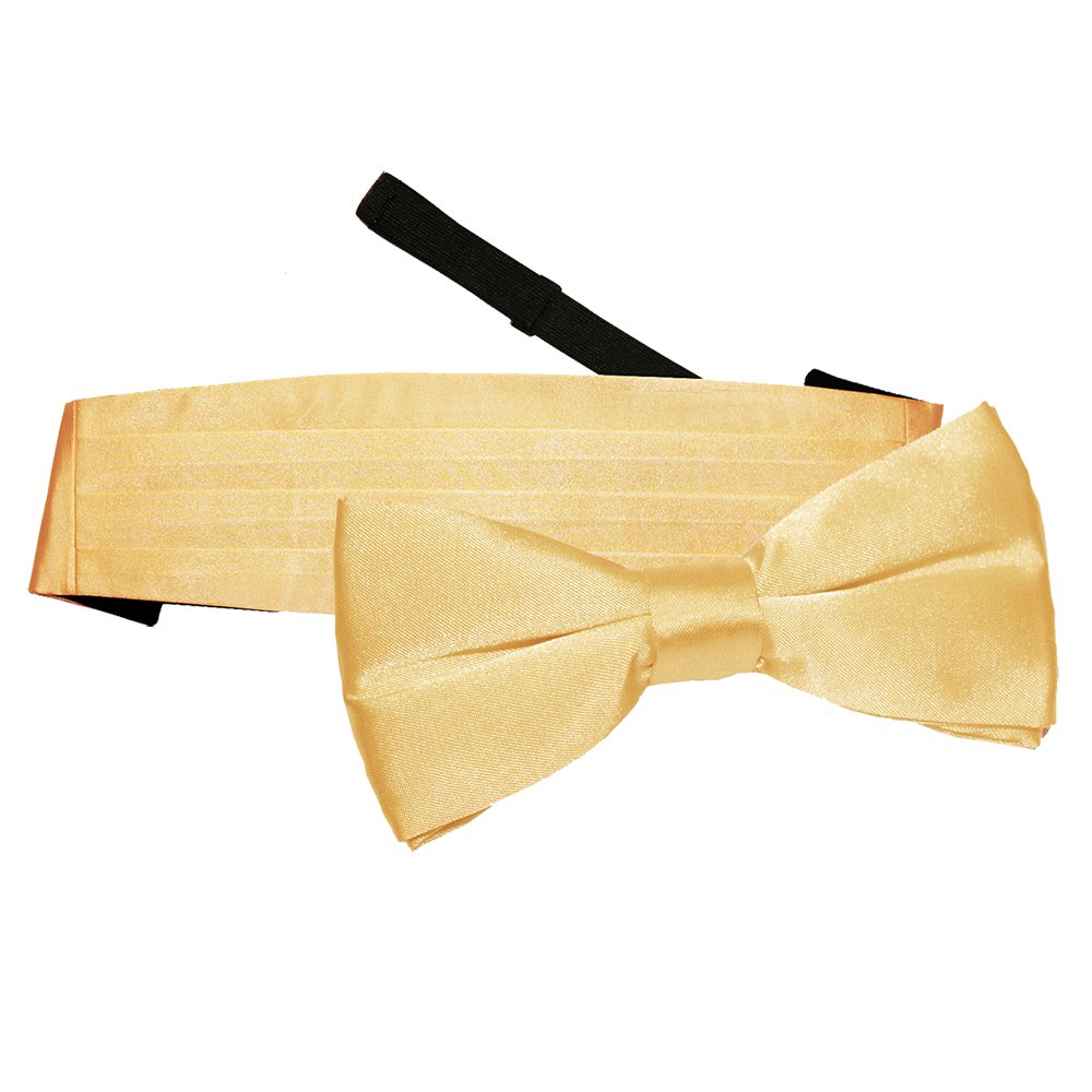 DQT Men Plain Satin Wedding Pre-tied Bow Tie and Cummerbund