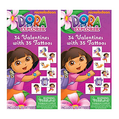 Dora the Explorer (2 Pack) 34 Valentines Cards with 35 Tattoos -