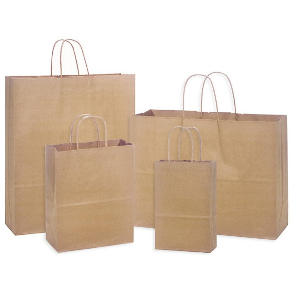 Natural Kraft Shopping Bags Assortment - 4 Different Sized Bags - 250 Pack