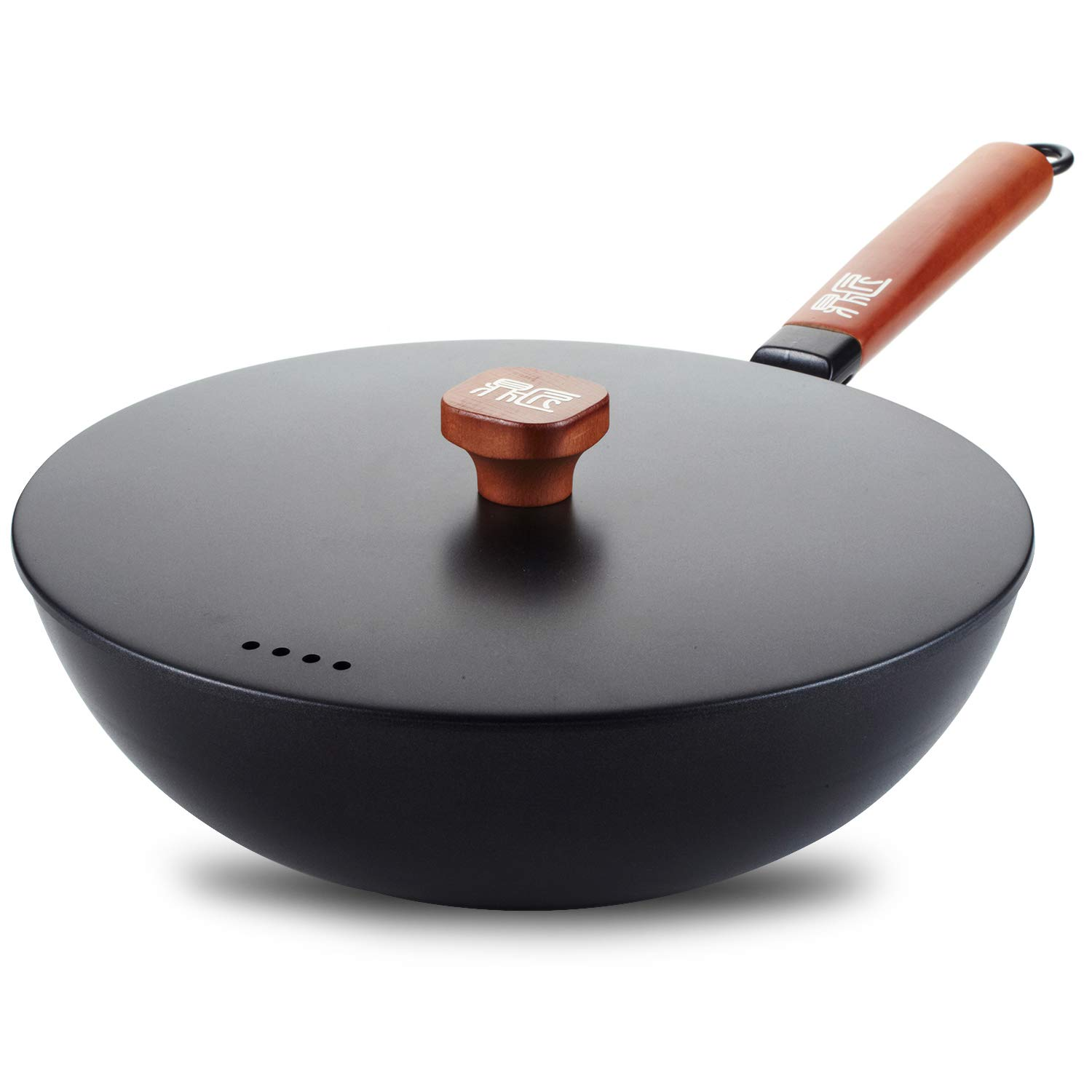 DINGJIANG Nonstick 11.8 Inch Skillet Cast Iron Wok with Lid and Rosewood handle