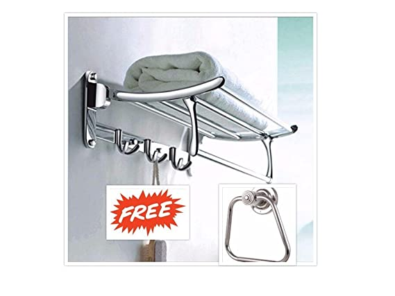 Fortune Stainless Steel Folding Towel Rack (18 inch) + Free Fortune Apple Towel Ring,Steel-Glossy Sign