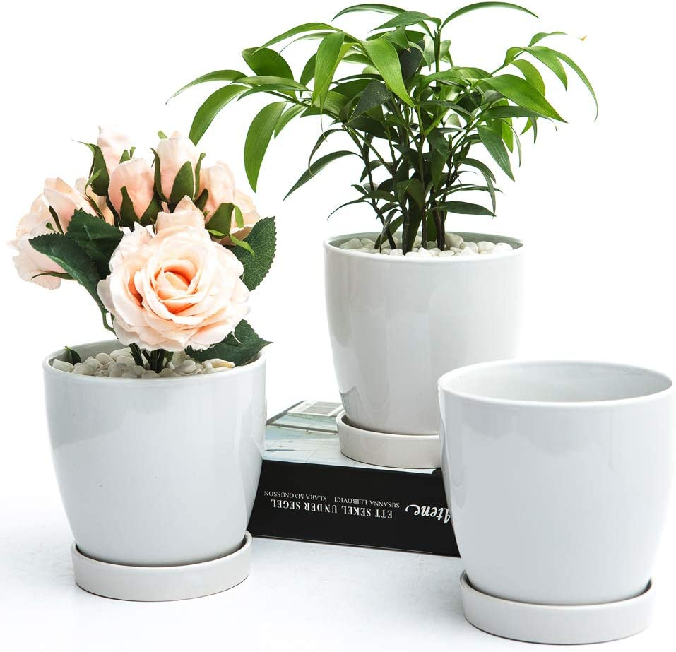 "BUYMAX Plant Pots–4.8""Glazed Ceramic Flower Pot with Drainage Holes and Ceramic Tray - Gardening Home Desktop Office Windowsill Decoration Gift Set 3 - Plants NOT Included"