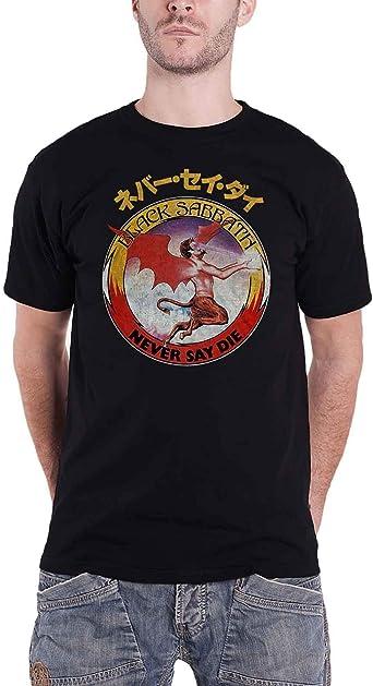 Amazon Com Black Sabbath T Shirt Never Say Die Japanese Logo Official Mens Black Clothing