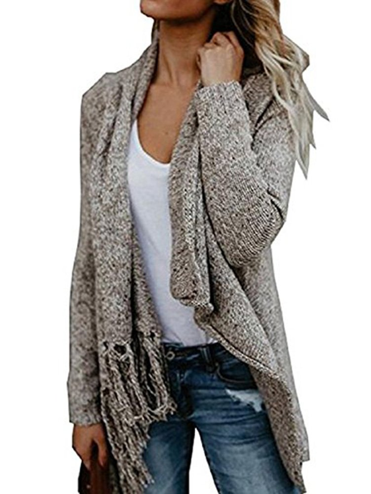 Women's Long Sleeve Tassel Fringe Hem Wrap Cardigan Loose Sweater Poncho S-XL