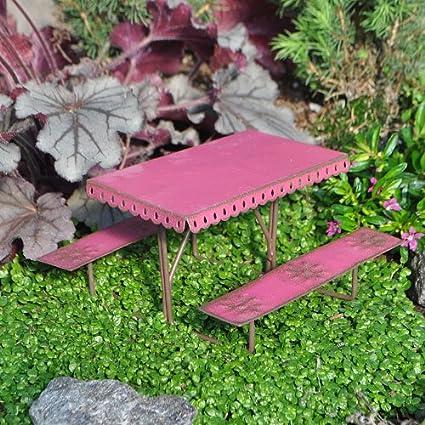 Studio M Picnic Table, Metal For Miniature Garden, Fairy Garden