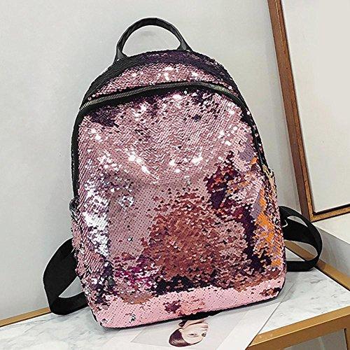 Travel Sequins Pink Party Girls Women Casual Backpacks Shoulder Glitter Widewing Handbags wpU8Sqq