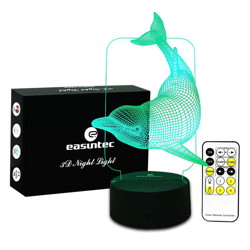 Kids Night Light Animal Dolphin 7 Colors Change with Remote Control Gifts for Kids or Animal Lover Gift Ideas by Easuntec (Dolphin)
