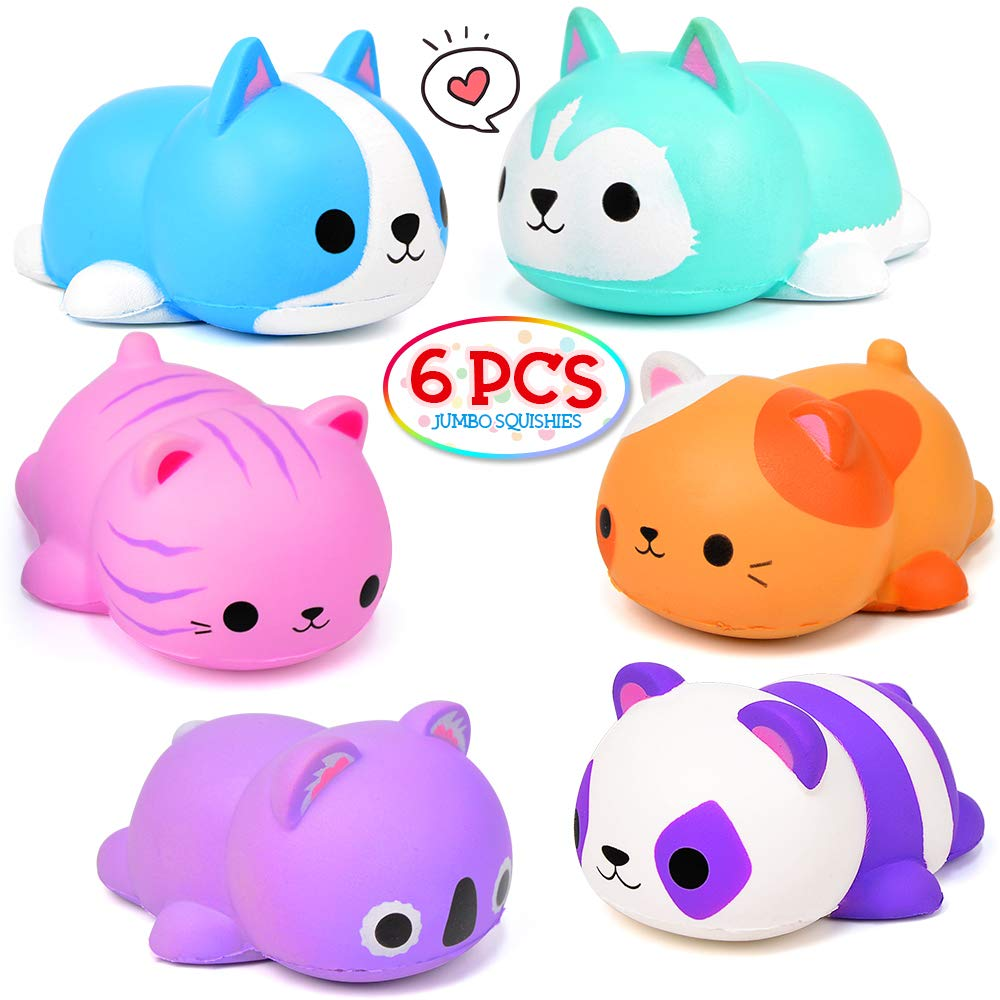 OCATO 6PCS Jumbo Squishies Slow Rising Squishies Animal Newest Cat Squishy Toys for Kids Party Favors Goodies Bags Class Prize Scented & Kawaii Squishys Stress Relief Toys for Adults Boys Girls