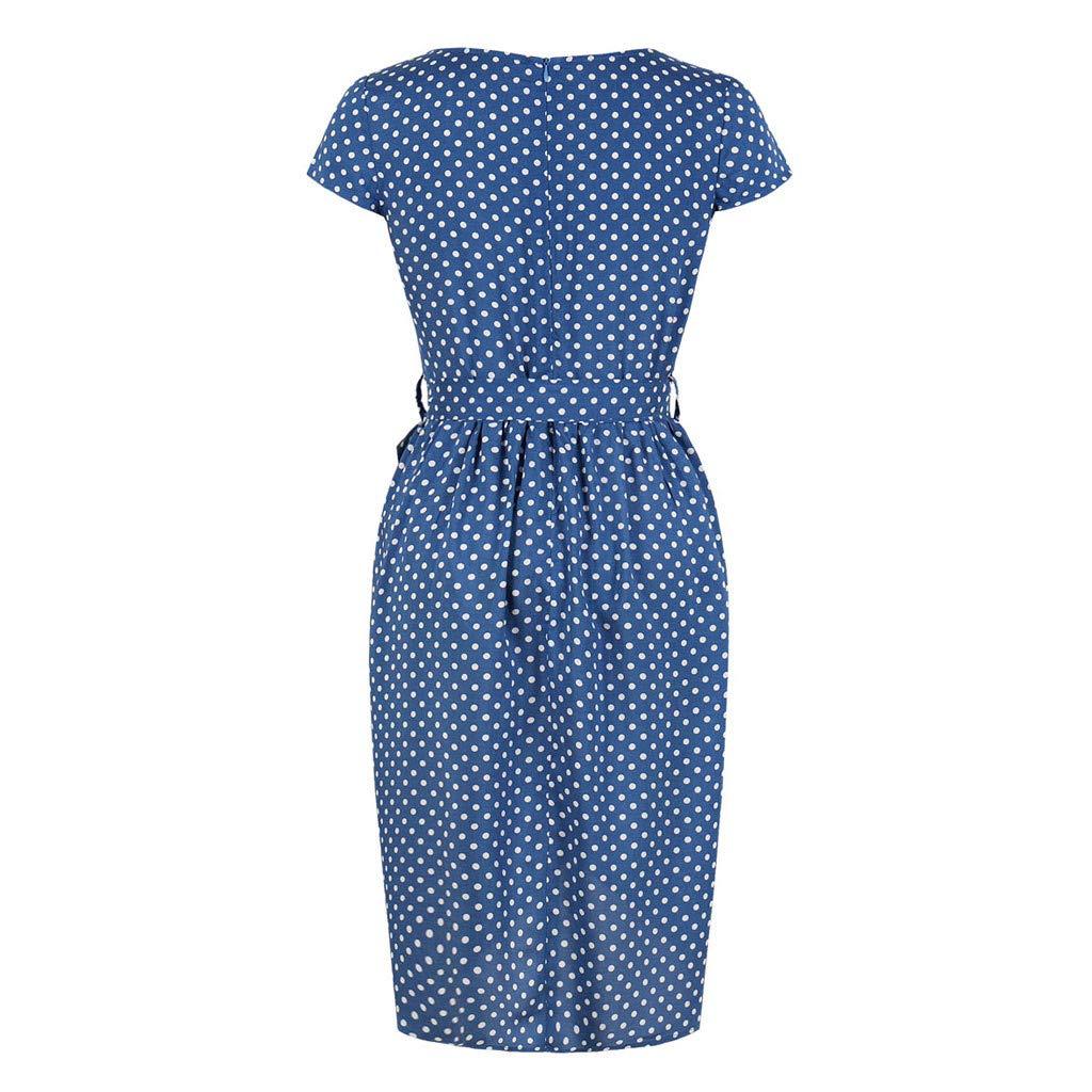 Sunday Damen Sommerkleid Vintage Kurzarm Abend Party Kleid Tupfen L/ässige Pencil Kleid Knielang Schlauchkleid